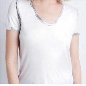 Zadig & Voltaire Tino White Foil Tee New